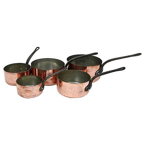 Heavy French Hammered Copper Pans, S/5