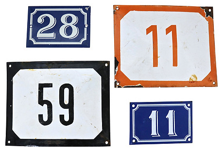 French Enamel House Numbers, 4 Pcs