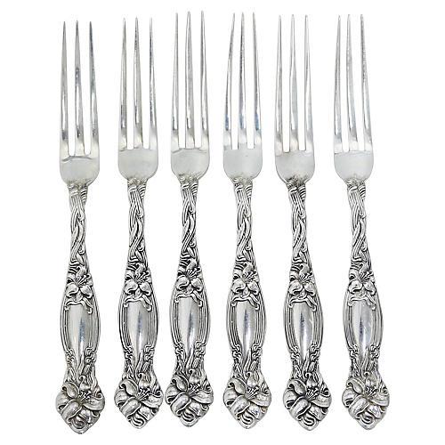 Antique Sterling Strawberry Forks, S/6
