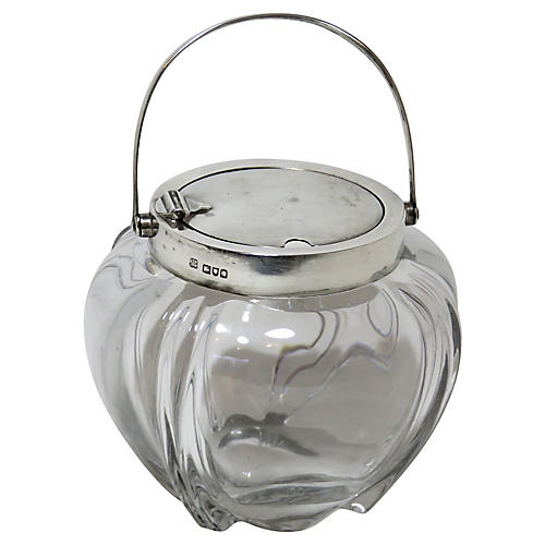 Sterling Silver & Crystal Jam Jar, 1900