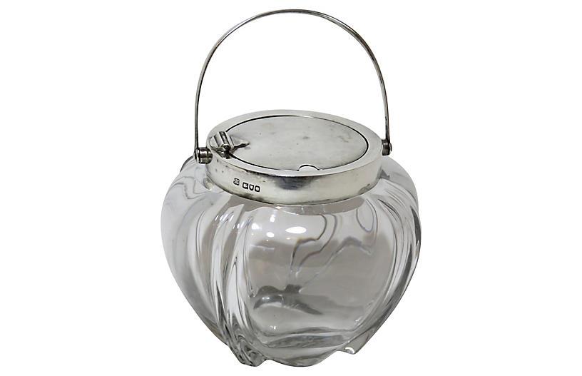 Sterling Silver & Crystal Jam Jar, 1900