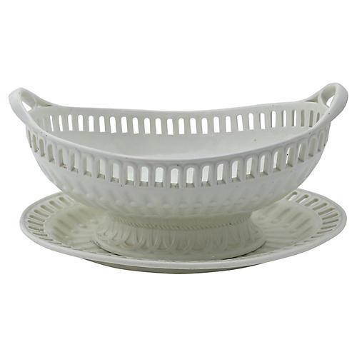 Antique Creamware Basket & Tray, 2 Pcs