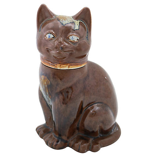 French Stoneware Cat Decanter