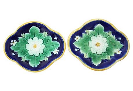 Antique English Majolica Lily Pad Plates