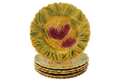 French Majolica Cherry Plates, S/6