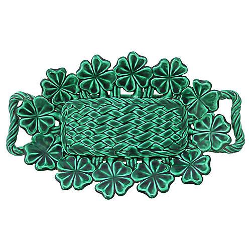French Green Majolica Shamrock Platter