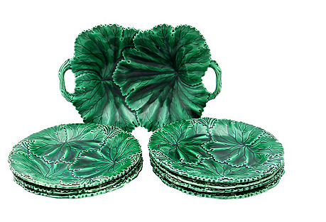 Antique Majolica Acanthus Leaf Set, S/8