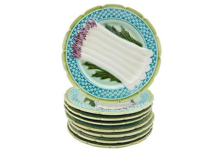 French Majolica Asparagus Plates, S/8