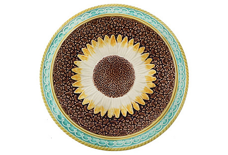 Antique Majolica Sunflower Plate