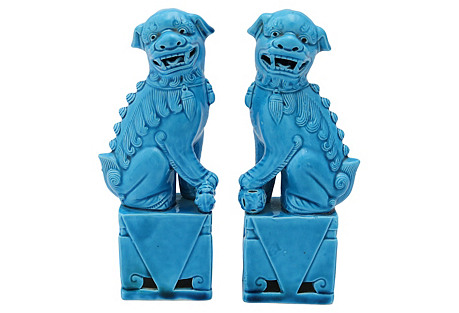 French Majolica Foo Dogs, Pair