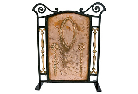 Antique Arts & Crafts Fireplace Screen