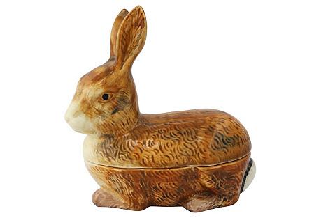 French Majolica Rabbit Pâté Tureen