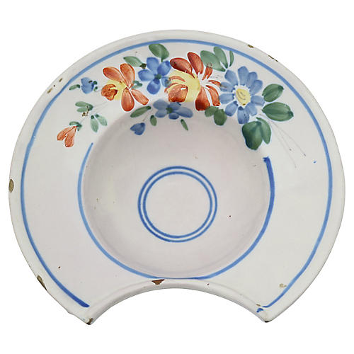 Antique French Faience Shaving Bowl