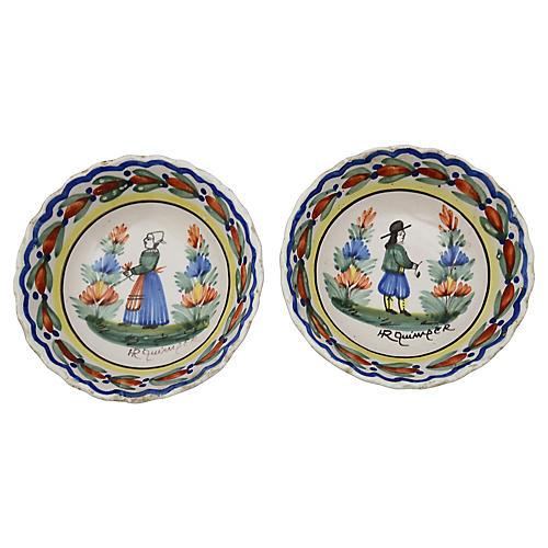 Antique French Quimper Bowls, S/2