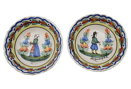 Antique French Quimper Bowls, S/2