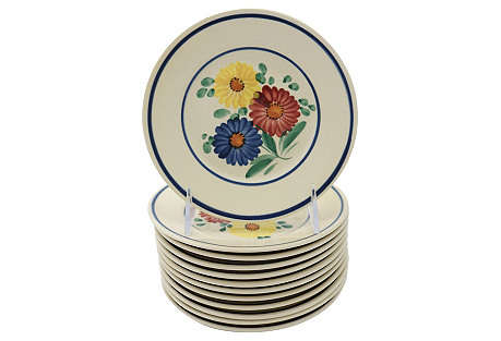 French Quimper Floral Plates, S/12