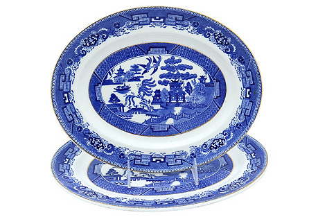 English Willow Pattern Platters, Pair