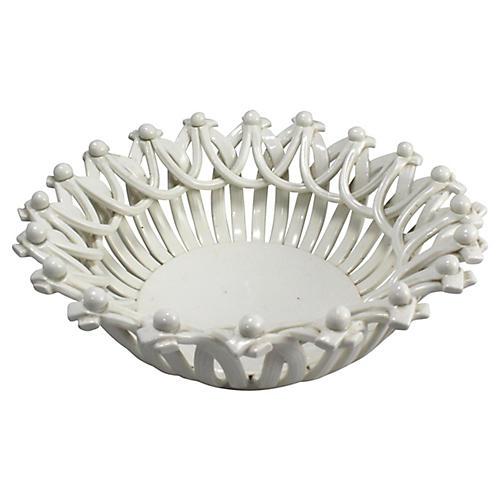 Antique Handmade Creamware Bowl