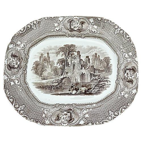 Antique Brown Transferware Platter