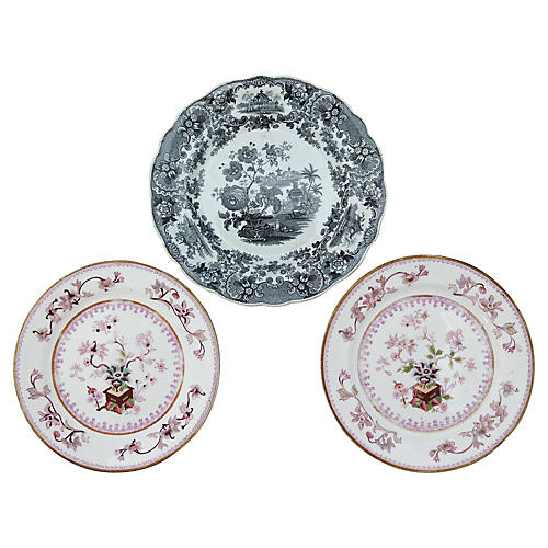 Antique English Wall Plates, 3-Pcs