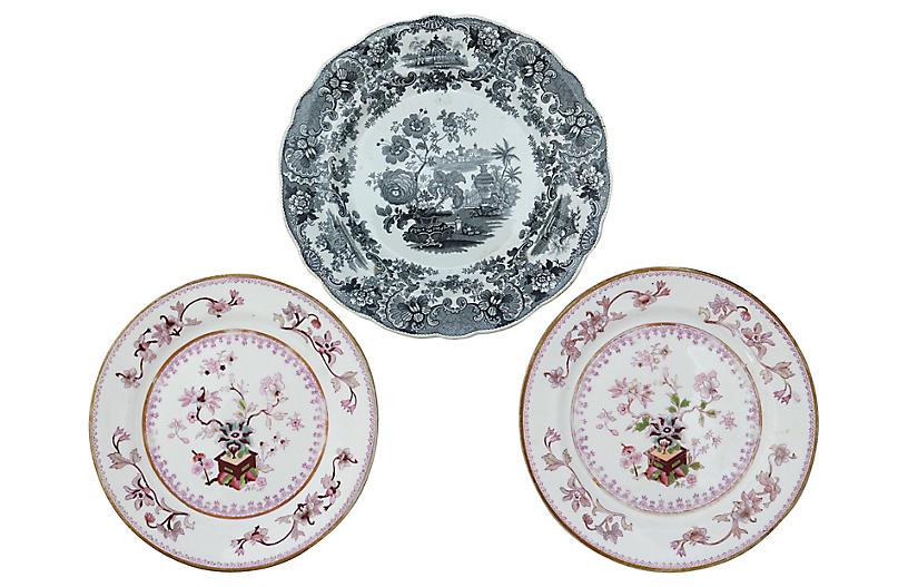 Antique English Wall Plates, 3-Pcs