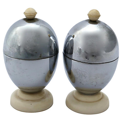 1950s English Chrome Egg Cups, Pair