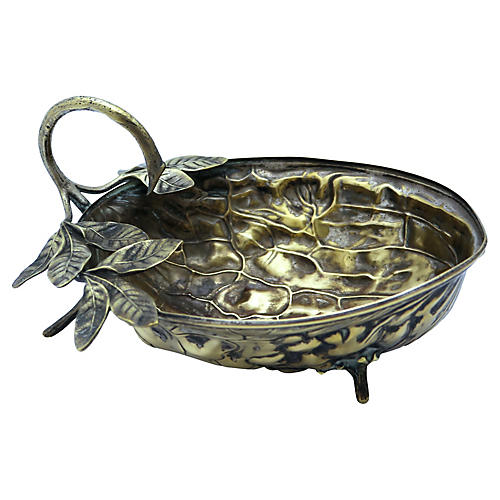 Antique Nickel Walnut & Foliage Bowl