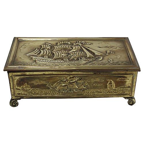 English Brass Schooner Cigarette Box
