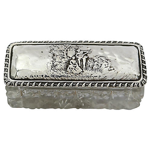 Antique Sterling & Crystal Box, 1900