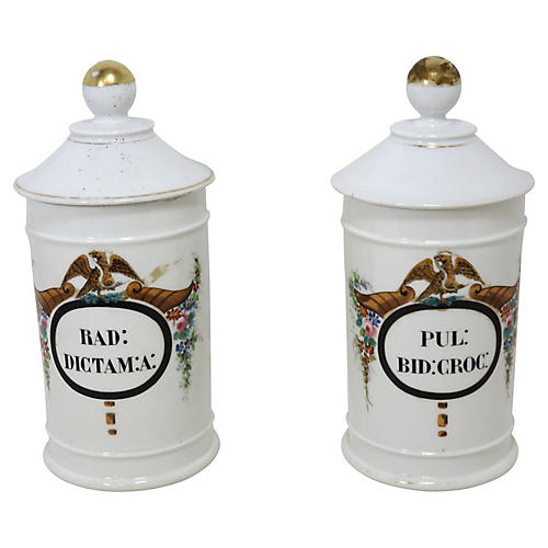 Antique Apothecary Jars, Pair