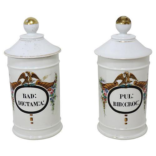 Antique Apothecary Jars, Pair