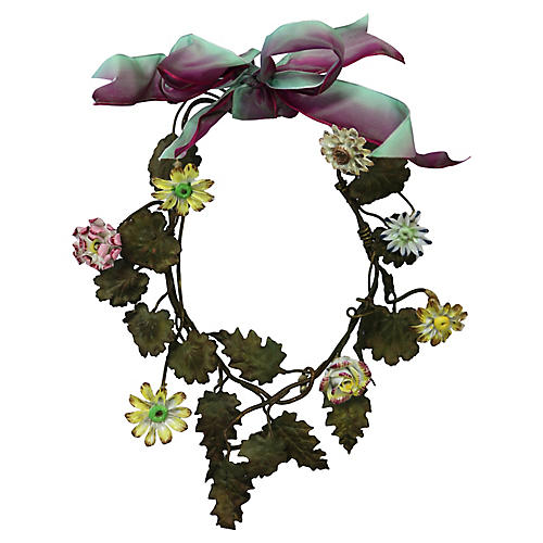 Antique Bronze & Porcelain Wreath