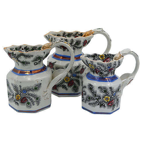 Antique Luster & Dragon Handle Jugs, S/3