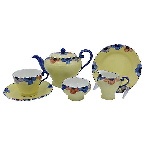 English Bone China Pansy Tea/Cake, 6 Pcs