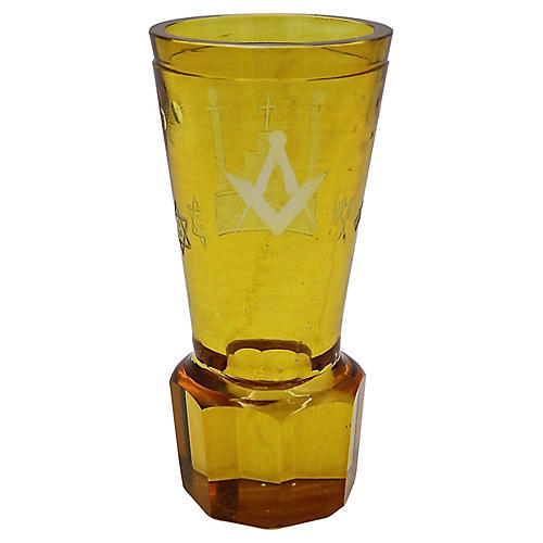 Antique Masonic Cut Glass Bud Vase
