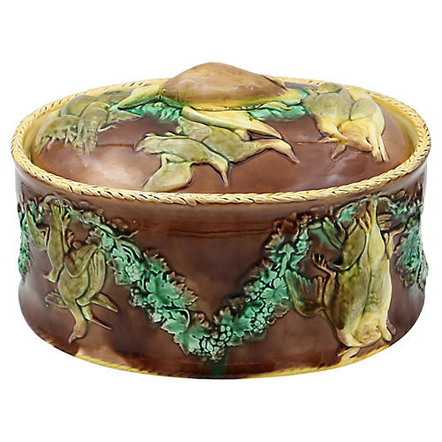 Antique Majolica Covered Game Tureen