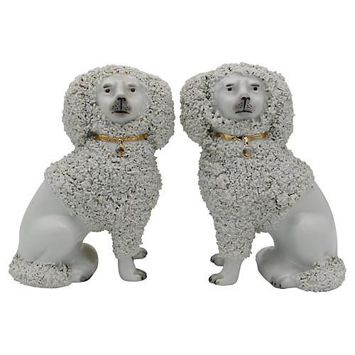 Antique French Porcelain Poodles, Pair