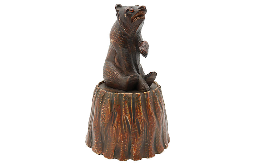 19th-C. Carved Black Forest Bear Humidor