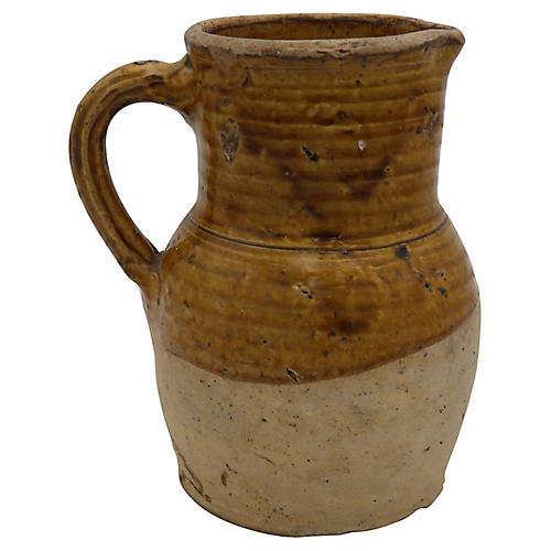 Antique French Stoneware Beverage Jug