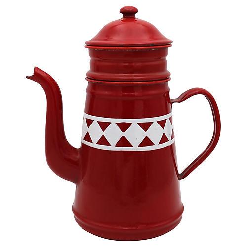 French Red & White Enamel Coffeepot