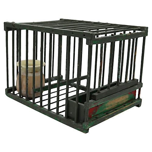 Antique French Green Birdcage