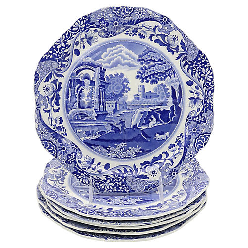 Spode Italian Divided Lunch Plates, S/6