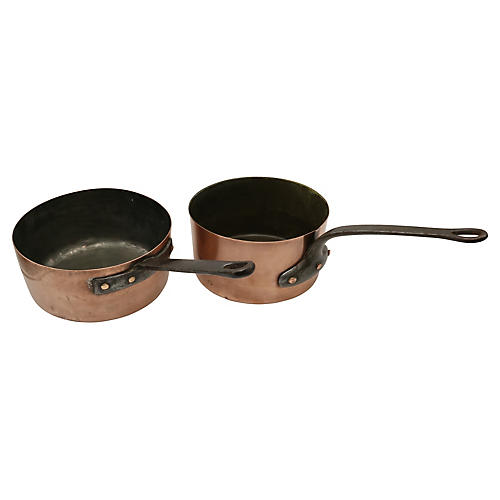 Heavy Antique English Copper Pans, Pair