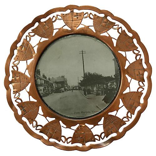 Antique Copper Coat of Arms Frame