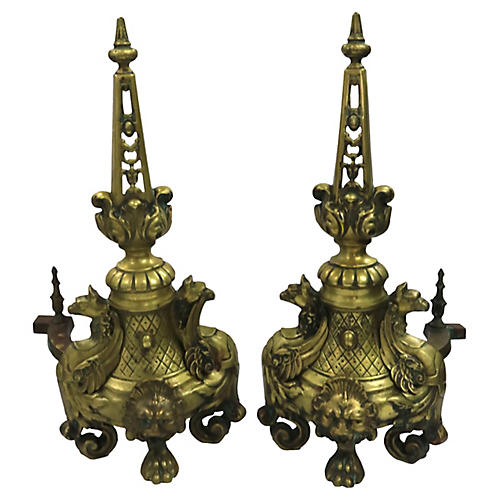 Antique French Bronze Andirons, Pair