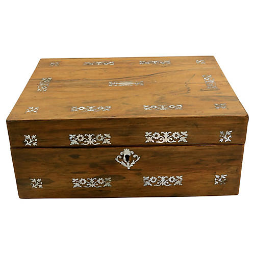 Antique English Pearl Inlaid Jewelry Box