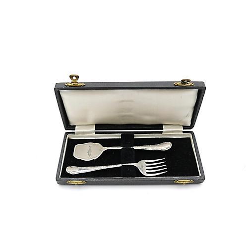 English Silver-Plate Sardine Set, 3 Pc