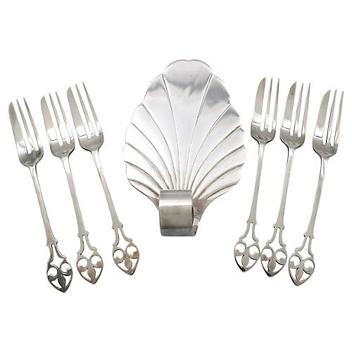 English silver-plate Pastry/Cake Set 7Pc