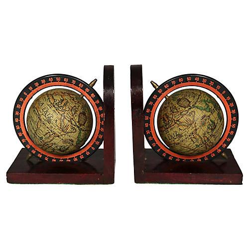 Mid-Century Italian Globe Bookends, Pair