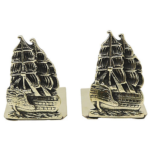 Antique English Brass Ship Bookends